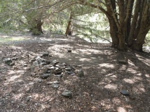 A leveled-out campsite at Mine Gulch campground.  There have been no improvements here for decades.