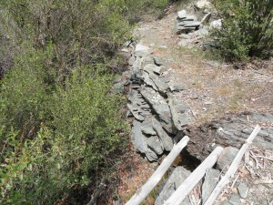 Dry stack rock wall still supports a remnant section of the Prairie Fork trail.  Photo taken just downstream from Cabin Flat campground.