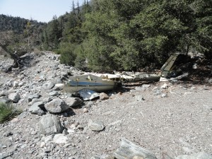 Wreckage of a light plane in lower Vincent Gulch.  This fuselage and wing sections have been here for decades.