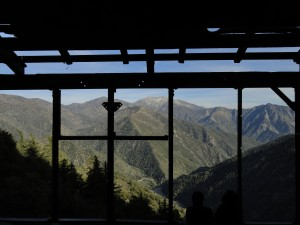 Mt. Baldy and Iron Mountain as seen from within the steel framing of the Big Horn Mine's stamp mill.