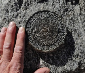 This benchmark attests to Mt. Baden-Powell's former namesake, North Mt. Baldy.   Affixed to a boulder at the summit, it marks the high point (9,399' elevation) of your day.