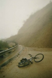Here's my bike in front of a slide that covered the road while I was photographing the Big Santa Anita during flood stage. Fortunately, my truck was sitting in a friend's drive way in north Arcadia. A number of Forest Service employees had vehicles trapped on the upper end of this and other slides for nearly 10 months!